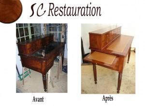 visualisez-la-restauration-d-un bureau-a-gradin-avant-et-après