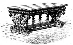 """Table à piètement en forme de """"cartibumum"""" romain"""