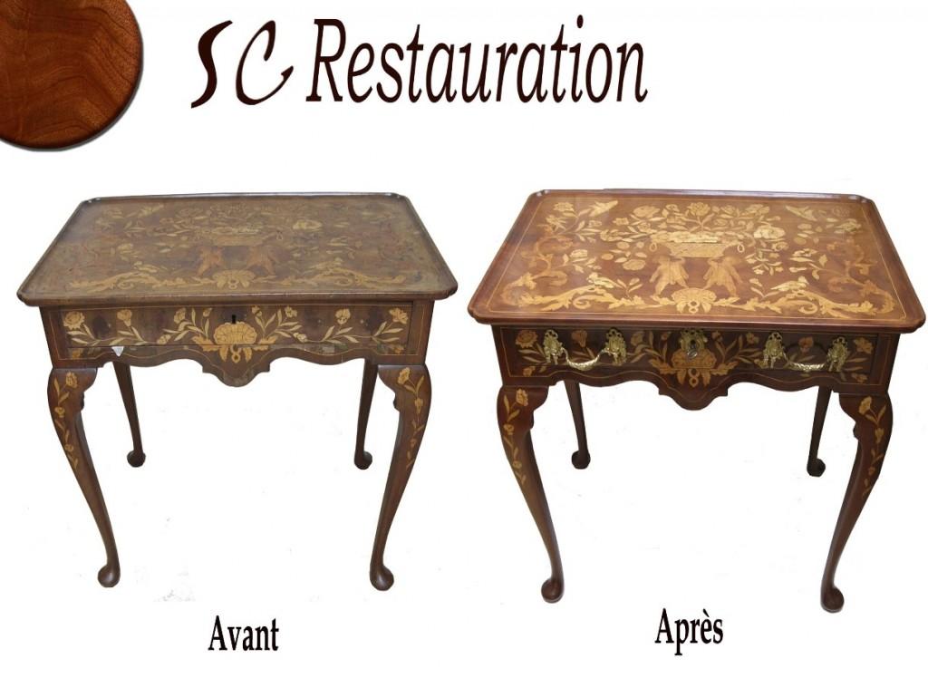 Restauration d'une table en marqueterie de fleur